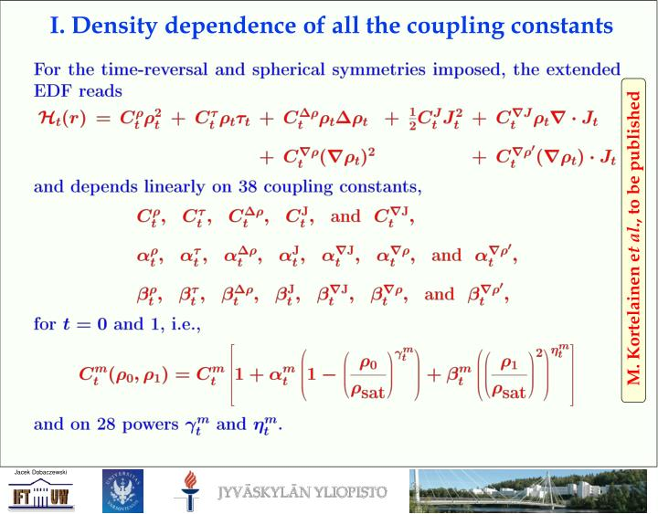 I. Density dependence of all the coupling constants