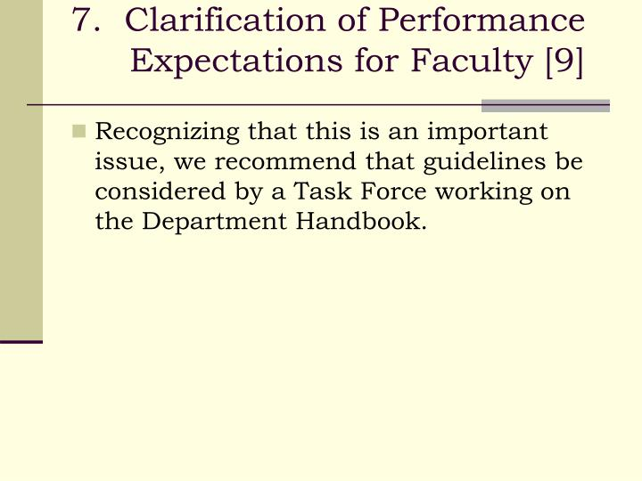 7.  Clarification of Performance Expectations for Faculty [9]