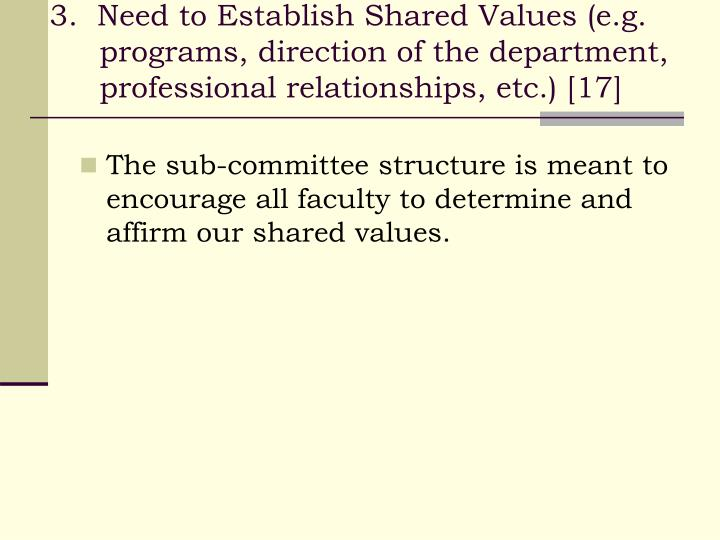 3.  Need to Establish Shared Values (e.g. programs, direction of the department, professional relationships, etc.) [17]