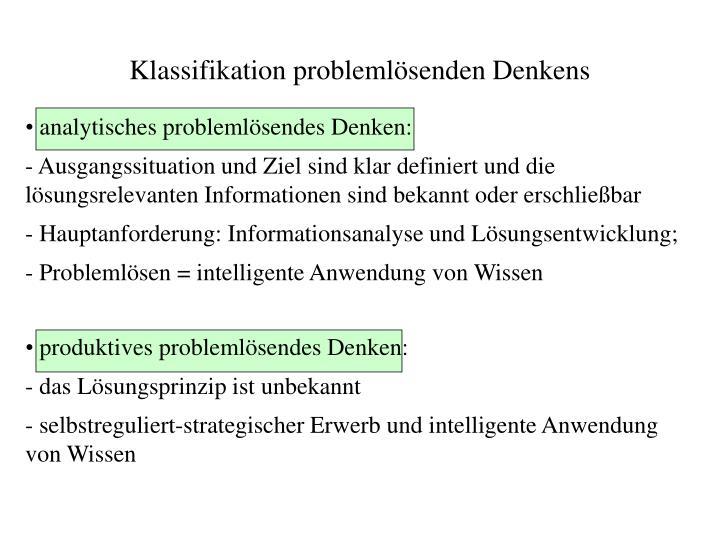 Klassifikation problemlösenden Denkens