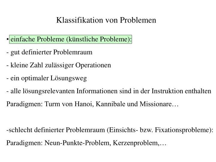 Klassifikation von Problemen