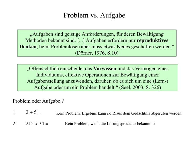 Problem vs. Aufgabe