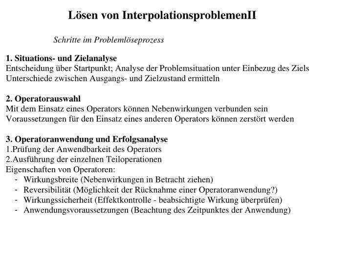Lösen von InterpolationsproblemenII