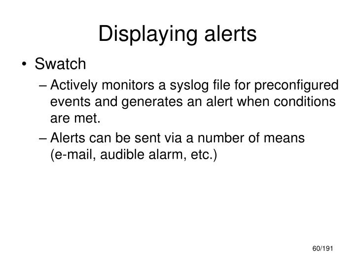 Displaying alerts