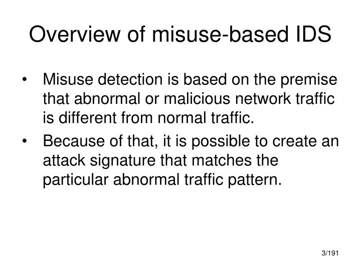 Overview of misuse based ids