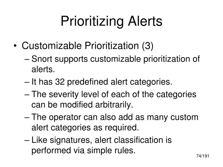 Prioritizing Alerts