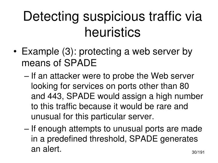 Detecting suspicious traffic via heuristics