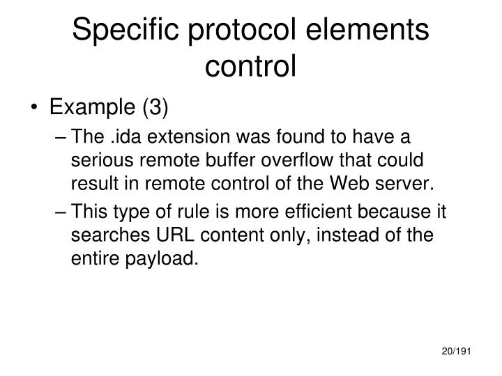 Specific protocol elements control