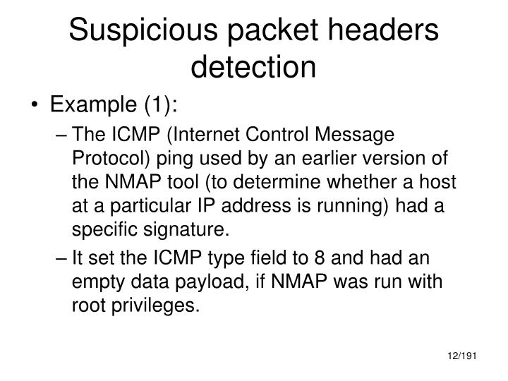 Suspicious packet headers detection