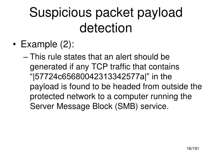 Suspicious packet payload detection