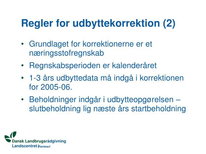 Regler for udbyttekorrektion (2)