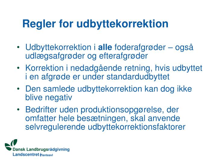 Regler for udbyttekorrektion