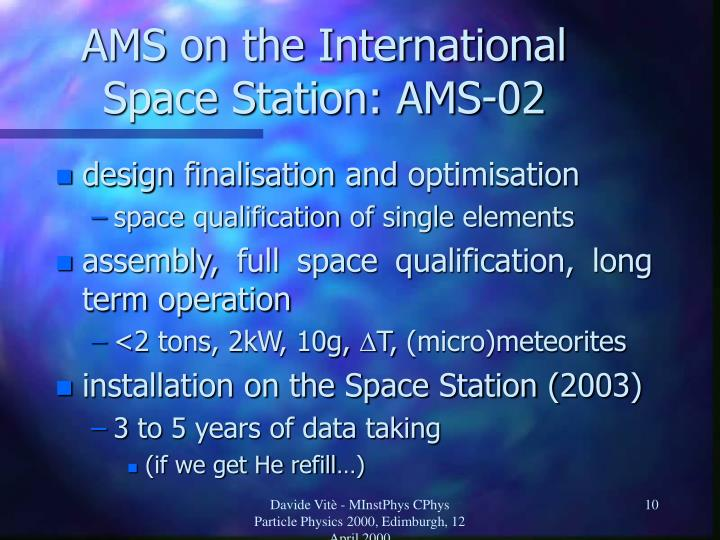 AMS on the International Space Station: AMS-02