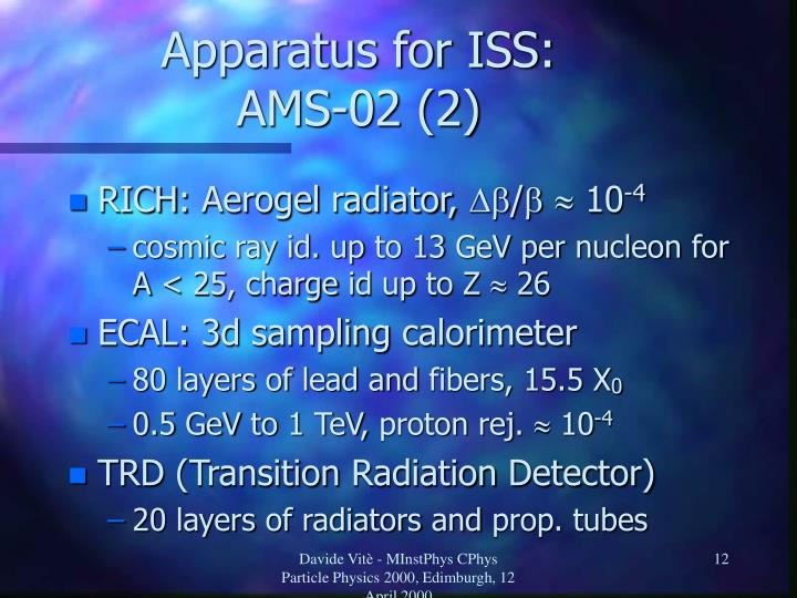 Apparatus for ISS: