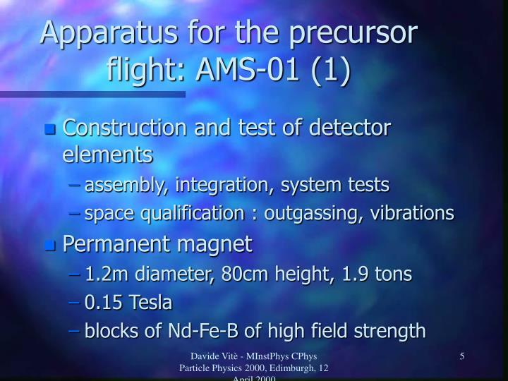 Apparatus for the precursor flight: AMS-01 (1)