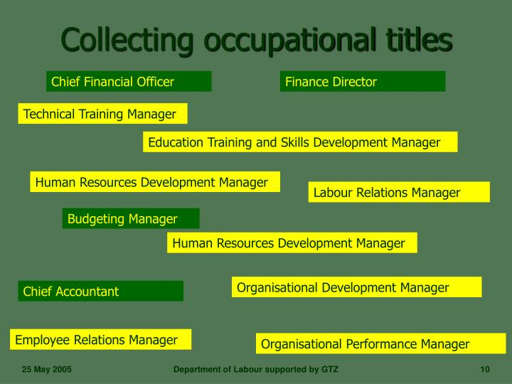 Collecting occupational titles