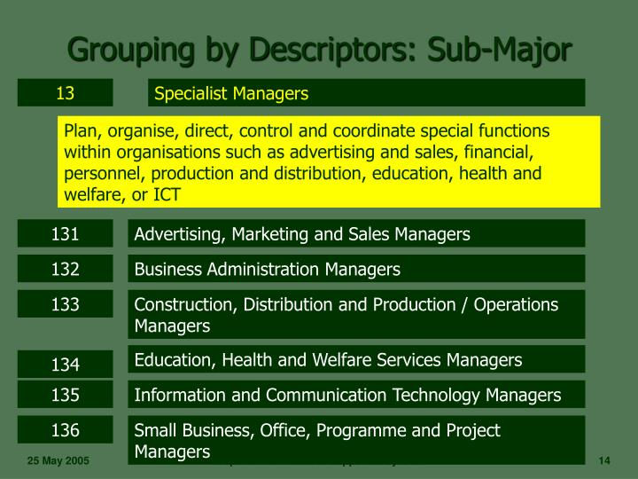 Grouping by Descriptors: Sub-Major