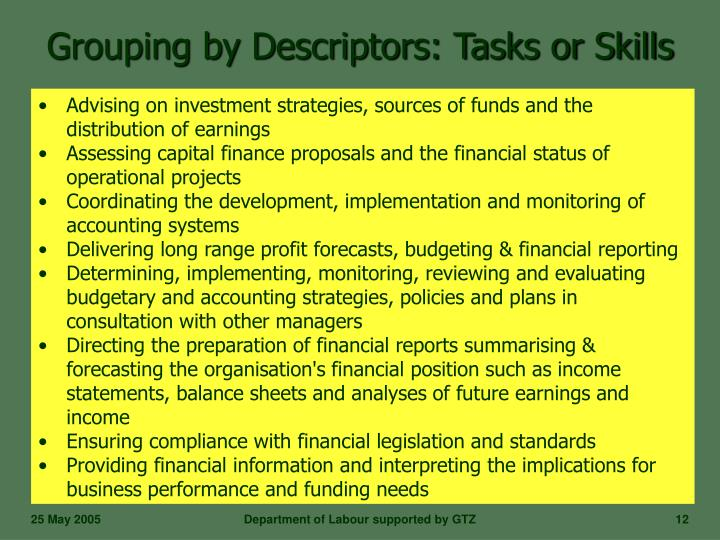 Grouping by Descriptors: Tasks or Skills