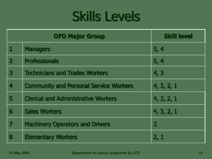 Skills Levels