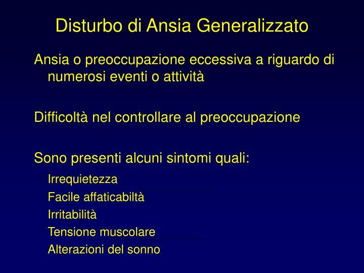 Disturbo di Ansia Generalizzato