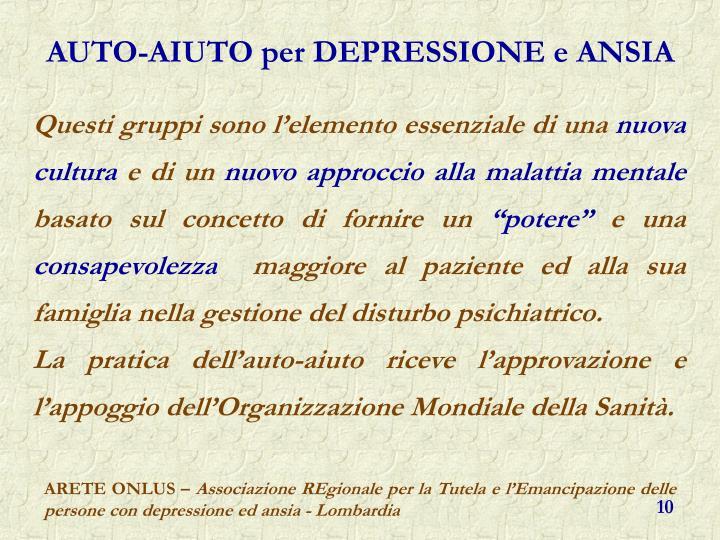 AUTO-AIUTO per DEPRESSIONE e ANSIA