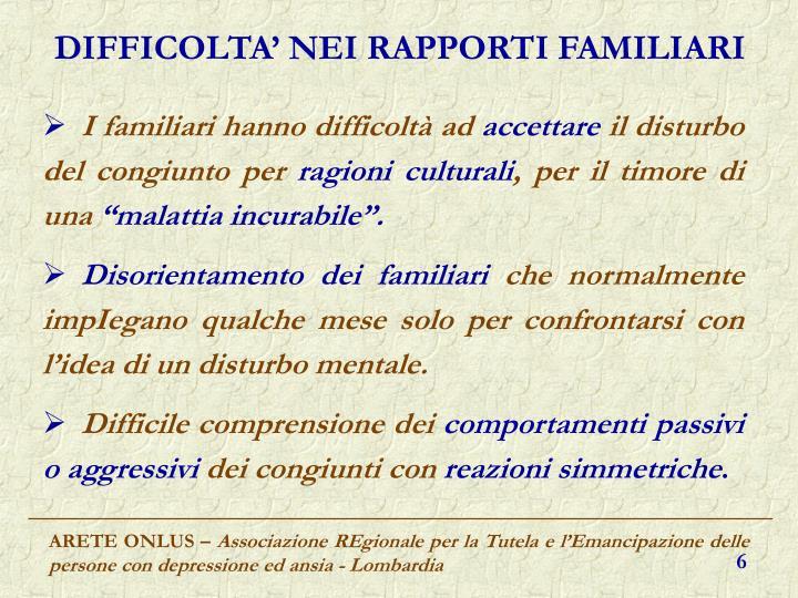 DIFFICOLTA' NEI RAPPORTI FAMILIARI