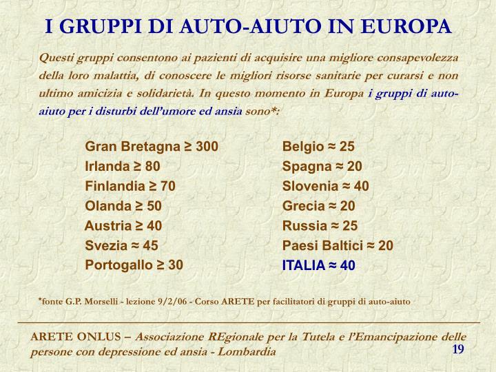 I GRUPPI DI AUTO-AIUTO IN EUROPA