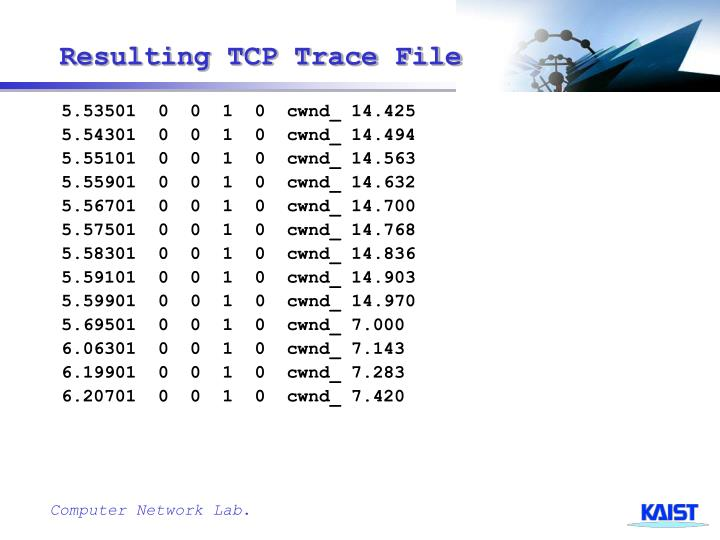 Resulting TCP Trace File