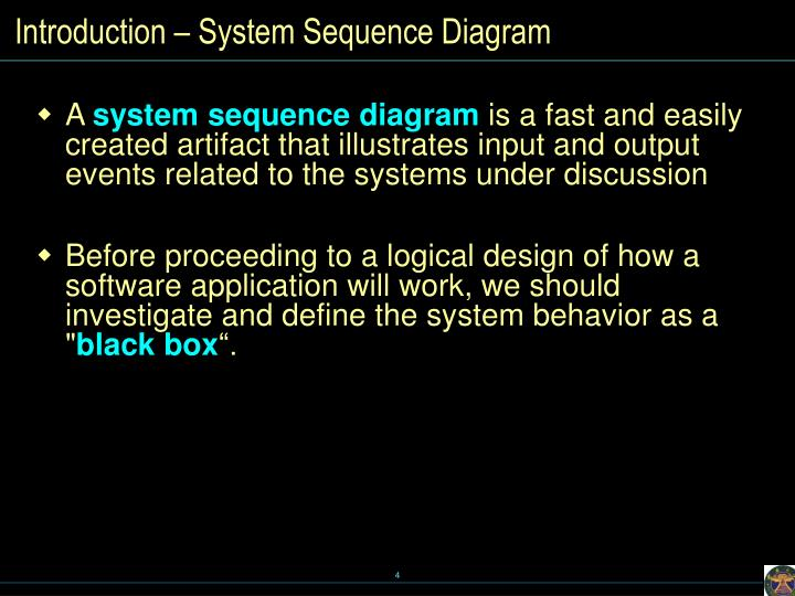 Introduction – System Sequence Diagram