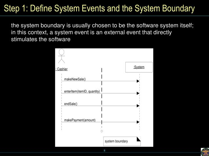Step 1: Define System Events and the System Boundary