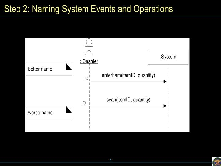 Step 2: Naming System Events and Operations