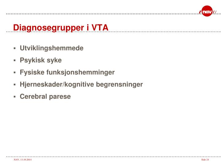 Diagnosegrupper i VTA