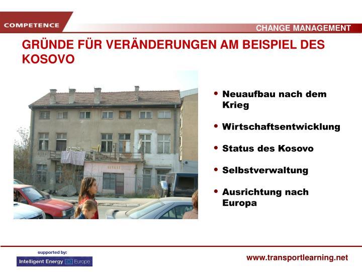 GRÜNDE FÜR VERÄNDERUNGEN AM BEISPIEL DES KOSOVO