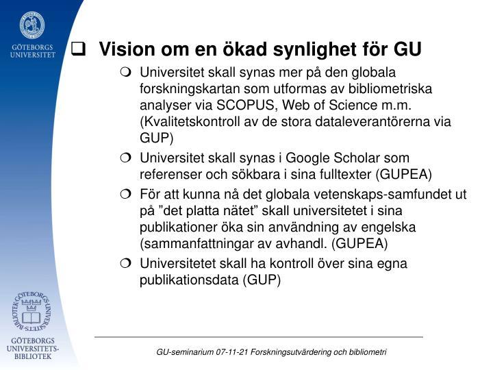 Vision om en ökad synlighet för GU