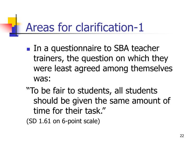 Areas for clarification-1