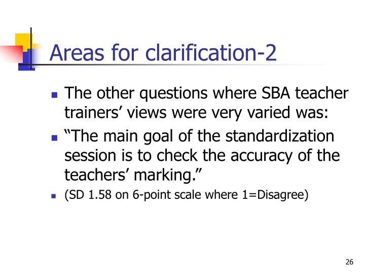 Areas for clarification-2