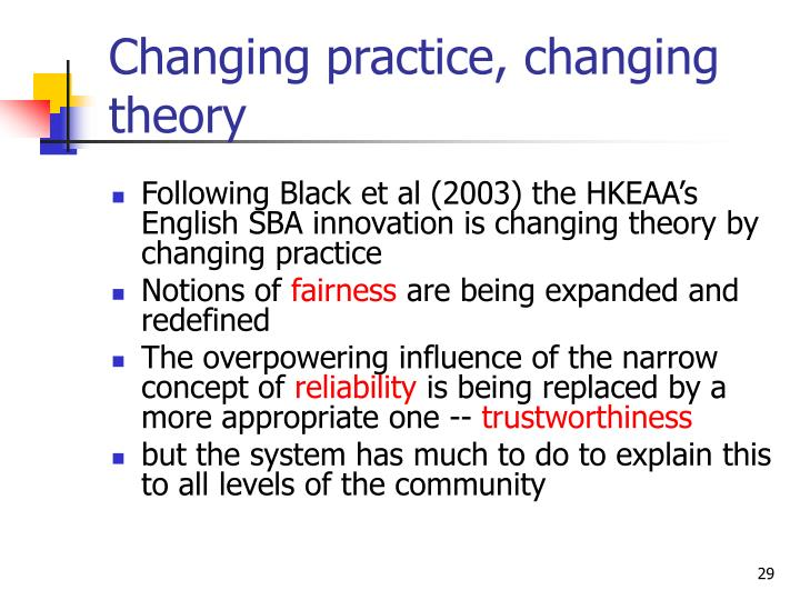 Changing practice, changing theory