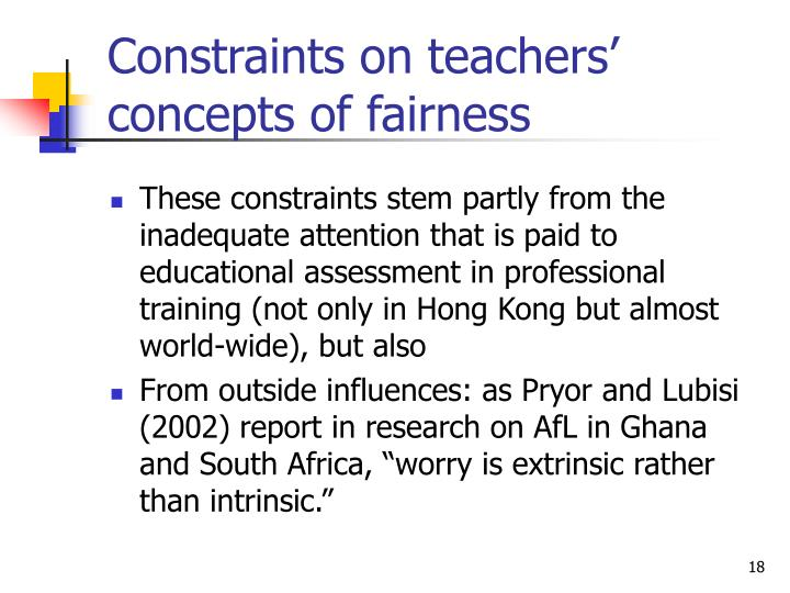 Constraints on teachers' concepts of fairness