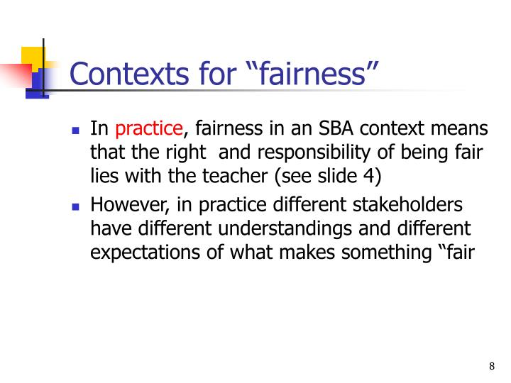 "Contexts for ""fairness"""