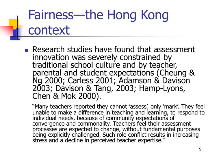Fairness—the Hong Kong context