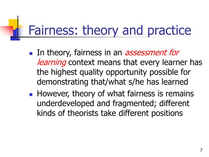 Fairness: theory and practice