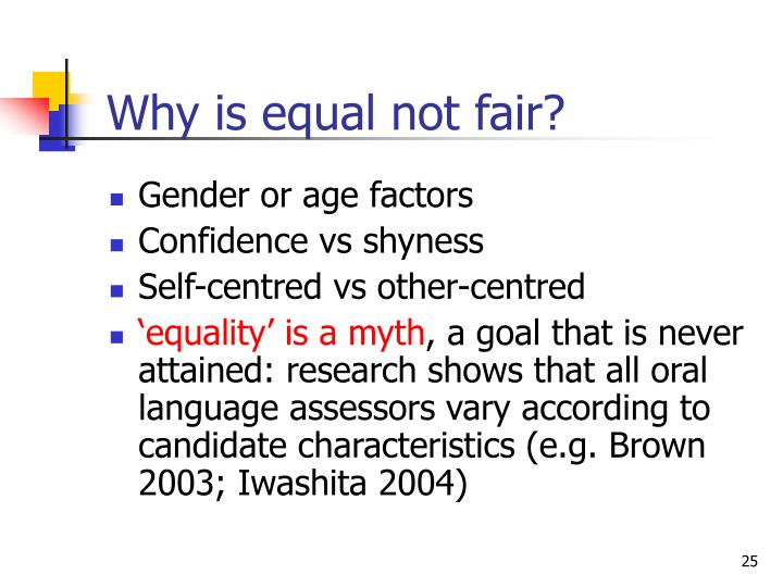 Why is equal not fair?