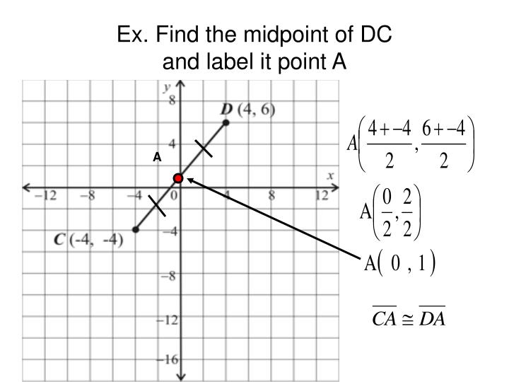 Ex. Find the midpoint of DC