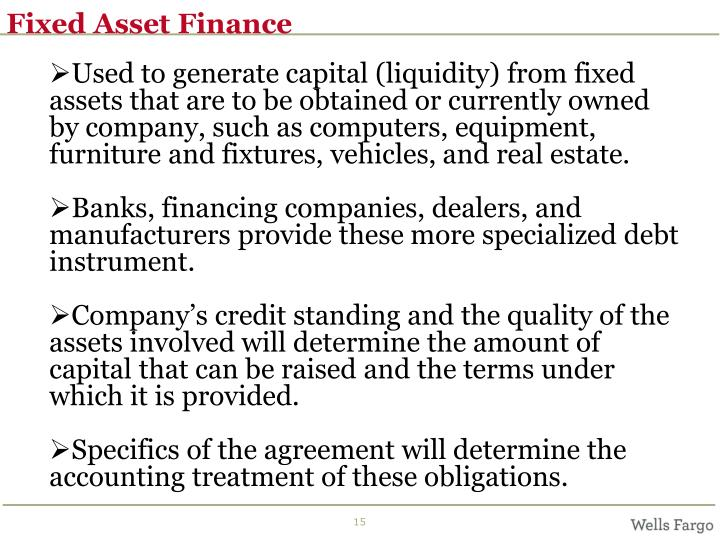 Fixed Asset Finance