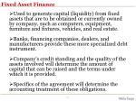fixed asset finance
