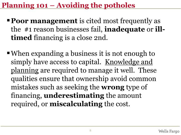 Planning 101 – Avoiding the potholes