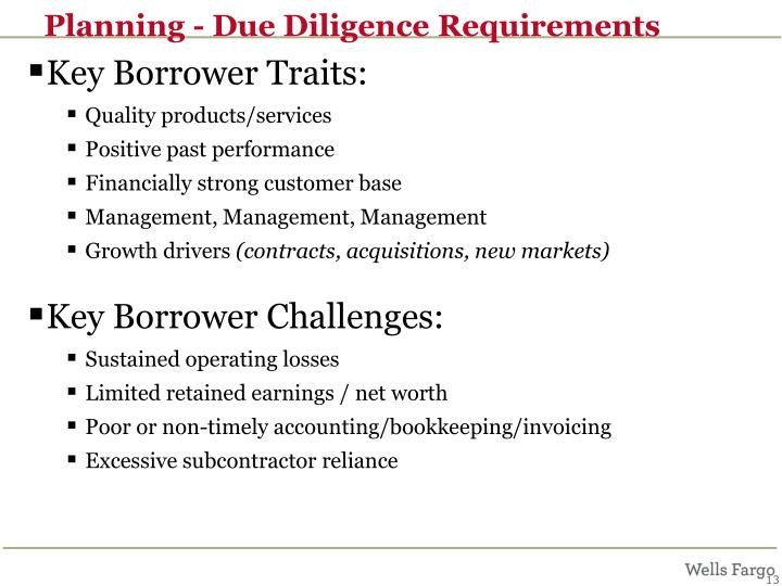 Planning - Due Diligence Requirements