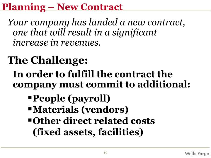 Planning – New Contract