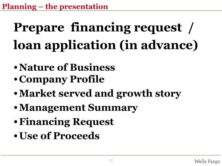 Planning – the presentation