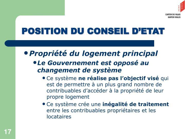 POSITION DU CONSEIL D'ETAT